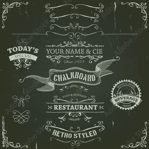 Hand Drawn Banners And Ribbons On Chalkboard