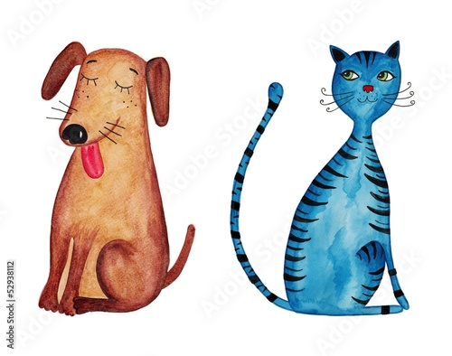 dog and cat. Watercolors on paper