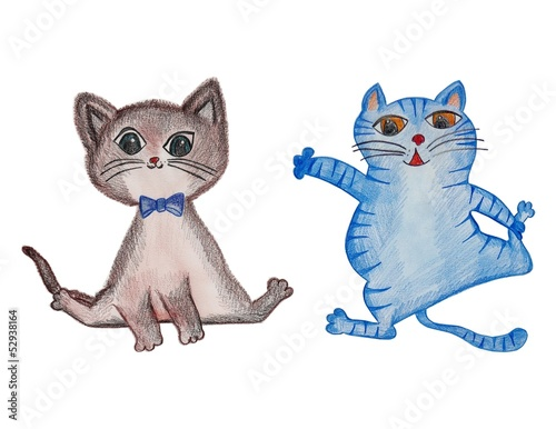 Cats. Pencils on paper