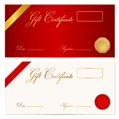 Red Gift certificate / Voucher / Coupon) template. Ribbon
