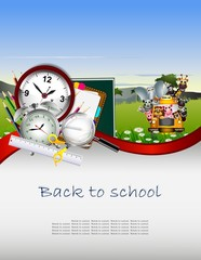 Modern Back to school background with animal wildlife