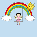 Fairy on a swing hanging from a rainbow
