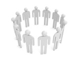 Twelve abstract white 3d people stand in one circle