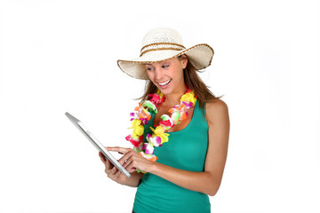Cheerful girl promoting tropical destination