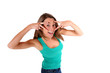 Cheerful girl with hands uncovering her eyes