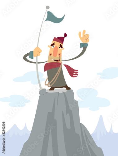 A man on the top of a mountain