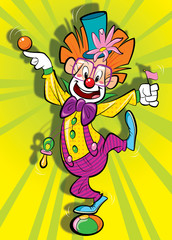 Happy clown on a clolorfoul background