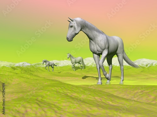 Horses in green landscape - 3D render