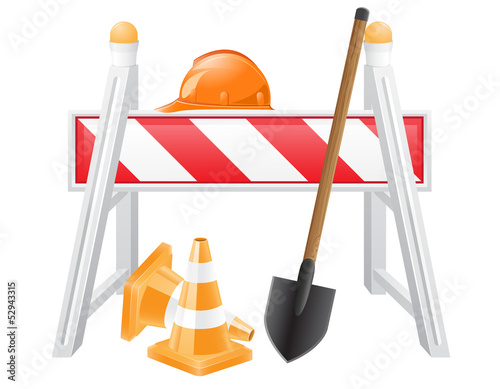 objects for road works vector illustration