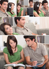 Montage of couple relaxing in their front room