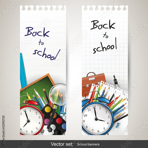 Back to school - set of vector banners