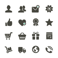 Universal icons set. Profile, Favorites, Shopping, Service