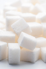 plenty of white sugar cubes backlit