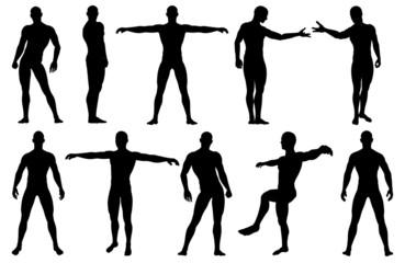 Male silhouettes posing