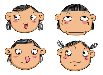 different facial expressions of a girl vector