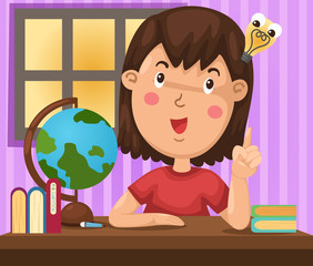 illustration of isolated girl doing homework vector