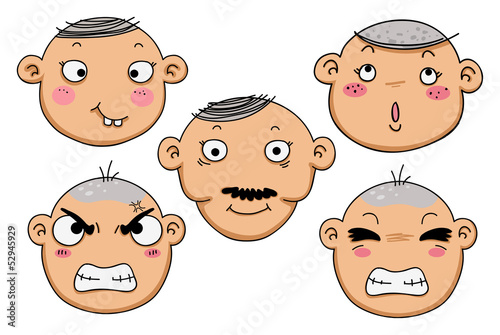 different facial expressions of a boy vector