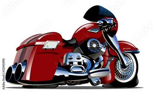 Fotobehang Motorfiets Vector Cartoon Motorbike