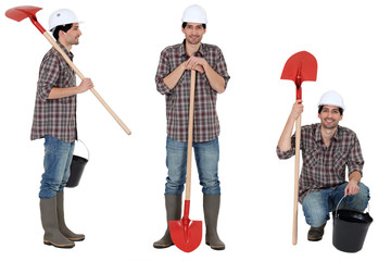 Construction worker with a bucket and shovel