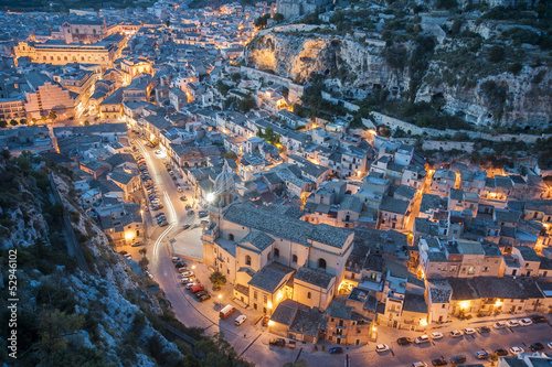 europe, italy, sicily, landscape of scicli at sunset