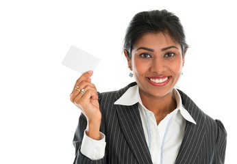 Indian businesswoman shows a blank name card