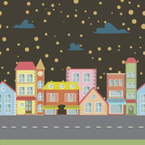 night seamless Vector cartoon town