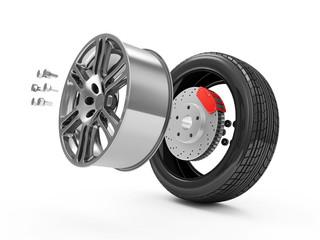 Demounted Car Wheel isolated on white background