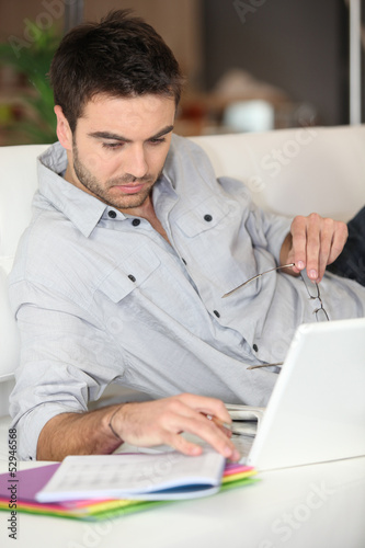 Man working using PC