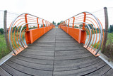 pedestrian cycle bridge to cross the River with fish eye view