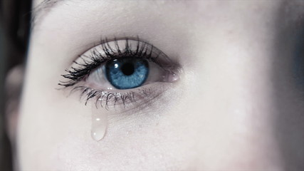 tears in a female sad eye in 1080p