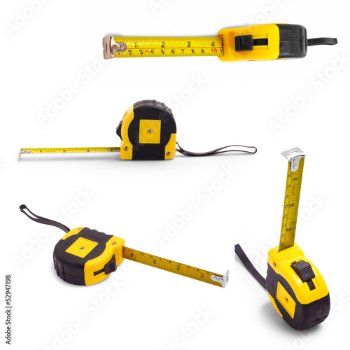 tape set measure isolated white tool meter construction yellow c