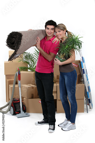 couple arranging their new apartment