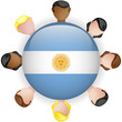 Argentina Flag Button Teamwork People Group