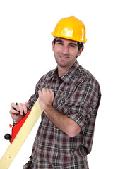 Man with wood plane