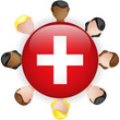 Switzerland Flag Button Teamwork People Group
