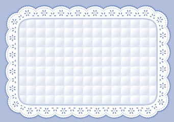 Place Mat Pastel Blue Quilt Eyelet Lace Embroidery, table set