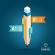 Creative Template with pencil ribbon banner isometric style / ca