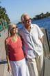 Happy Senior Couple Walking Tropical Sea or River
