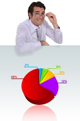 Man stood with pie-chart
