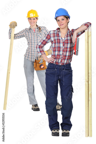 Two female carpenter