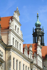 Beautiful view of baroque buildings in the center of Dresden