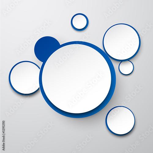 Paper white-blue round speech bubbles.
