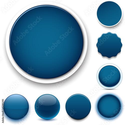 Round dark blue icons.