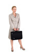 Studio shot of woman with briefcase