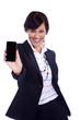 Geschäftsfrau lacht mit Smart Phone
