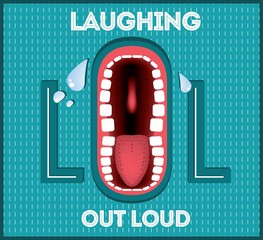 Laughing Out Loud - LOL popular expression illustrated