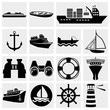 Ships vector icon set.