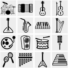 Music vector icon set on gray