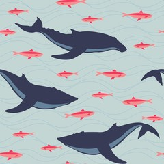 Whales and fishes pattern