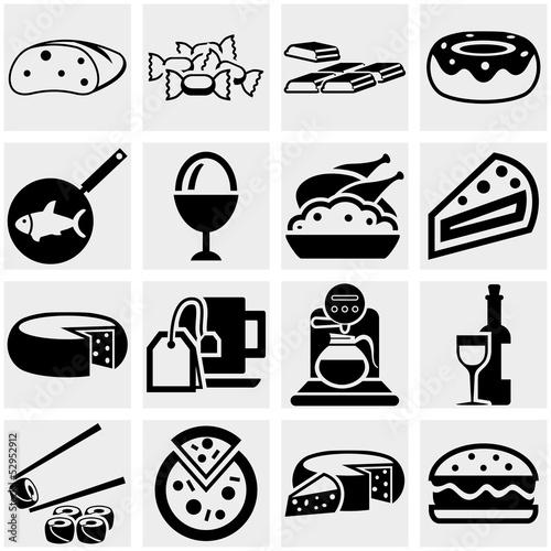 Food vector icons set on gray.